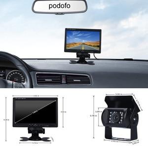 "Image 2 - Podofo DC 12V 24V 7""TFT LCD Car Monitor Display + 4 Pin IR Night Vision Rear View Camera for Bus Truck RV Caravan Trailers"