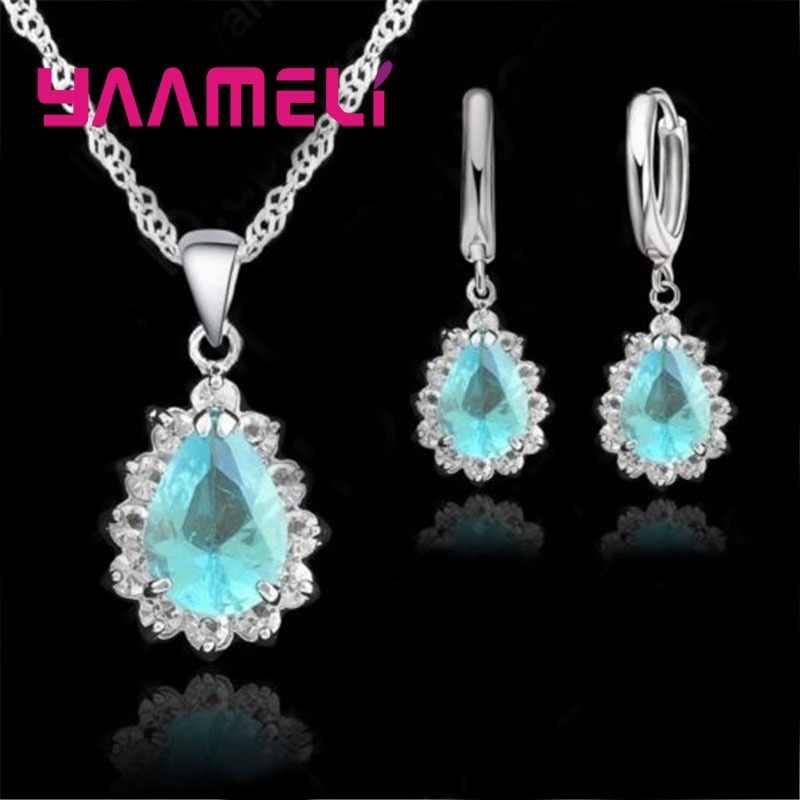 YAAMELI  Luxury Couple Class Wedding Anniversary Jewelry Sets 925 Sterling Silver  Cubic Zircon Hot Sale Earrings+Necklace set