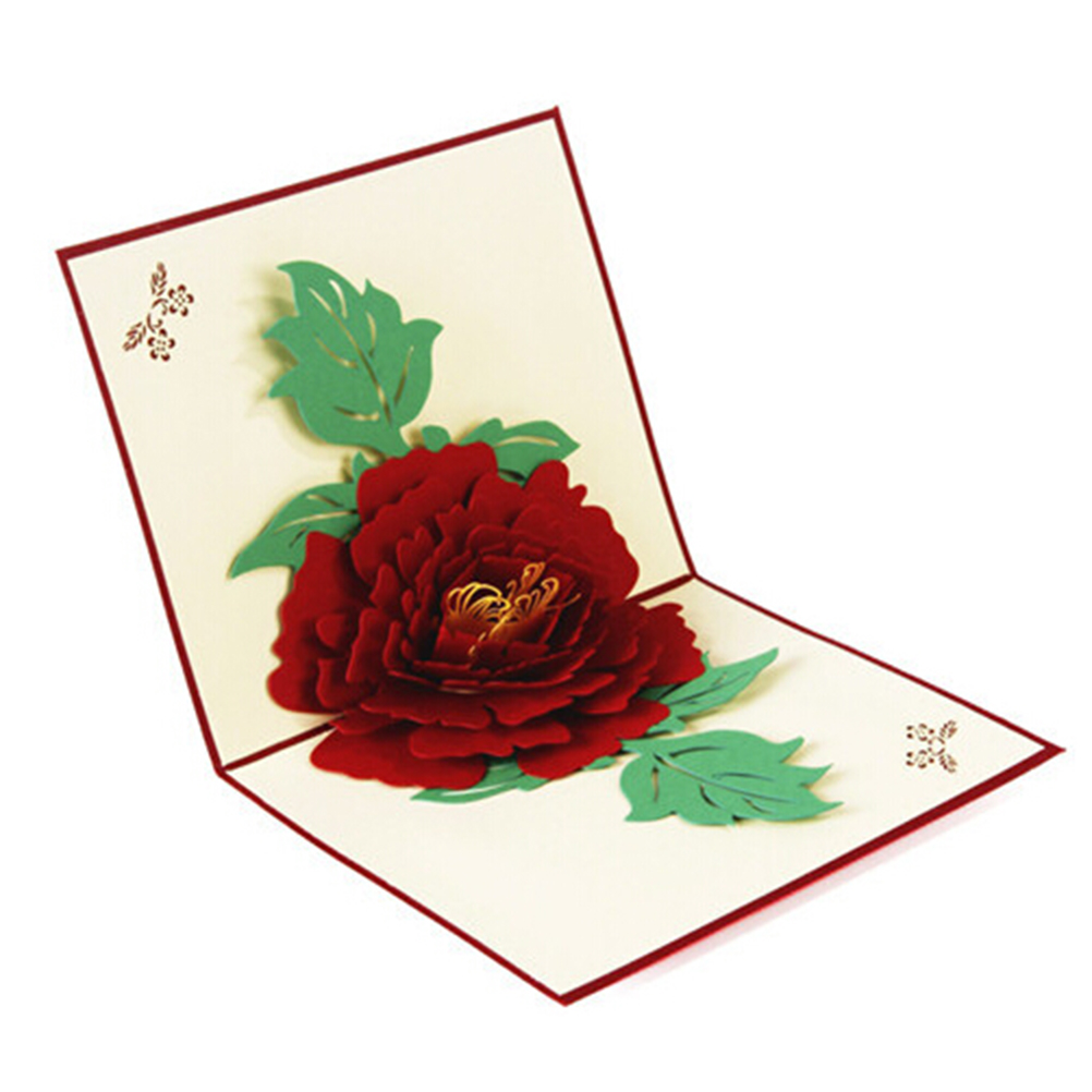 Intellective Peony Greeting Card 3d Pop Up Postcard Birthday Christmas New Year Folding Kirigami Card For Wedding Valentines Day Unequal In Performance Paper Envelopes Mail & Shipping Supplies