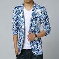 2017 Nueva Llegada Del Otoño Para Hombre Blazers Mens de la Marca de Calidad Superior Floral Chaqueta M-5XL 6XL de Los Hombres Traje Slim Fit Blazer Masculino