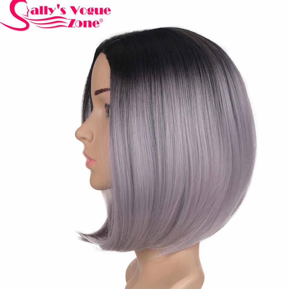 Sallyhair высокое Температура Синтетический прямой короткий Ombre черный светло-серый бабушка серый Цвет Боб Искусственные парики волос для черных Для женщин
