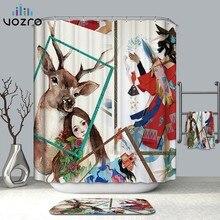 VOZRO Shower Curtain Waterproof Polyester 2 M Bathroom Fabric 3D Deer Pattern Bape Douchegordijn Pascoa Cortina Splatoon London