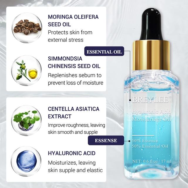 BREYLEE Hyaluronic Acid Essential Oils Moisturizer Nourishing Facial Serum Anti Aging Wrinkles Whitening Face Skin Care