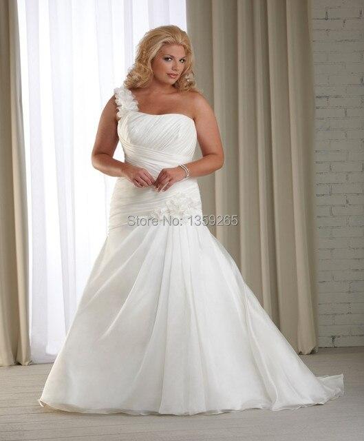 d83276a4e00 Hot Sale One Shoulder Plus Size Wedding Dresses Appliques Bride Gown Lace  Up Back Organza Vestidos De Noiva Free Shipping AW324
