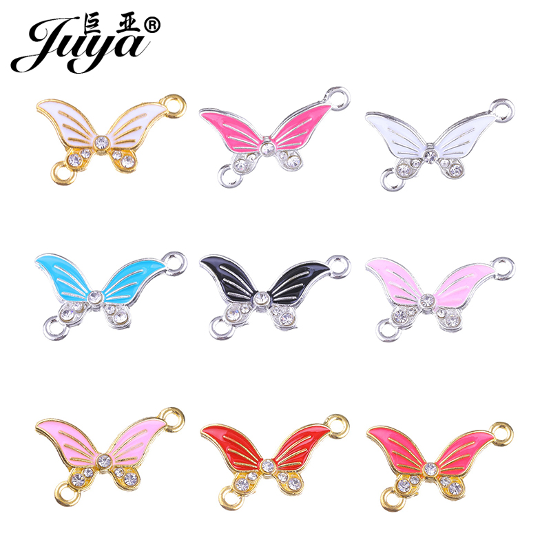 JUYA DIY Jewelry Supplies 14x23.7mm Butterfly Shape Crystal Connector for Jewelry Making DIY Bracelet Bangles Accessories CR0024