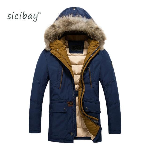 SICIBAY 2016 Толщиной Теплая Зима Для мужчин Водонепроницаемый Мех Коллер Парки С Капюшоном Пальто GQ16-XH005
