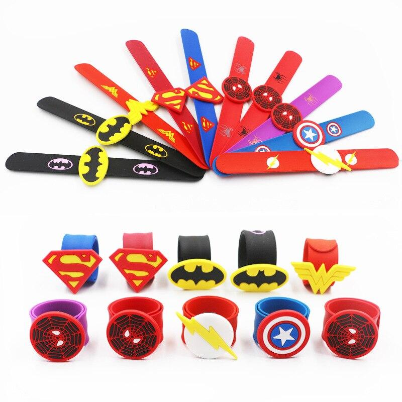 Silicone Superhero Slap Bracelet Marvel Avengers Captain Spider Man Superman Batman Flash Wristband Bracelet Kids Gift