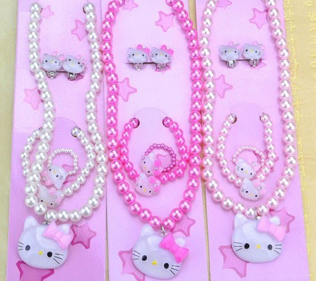 d0f52e3d8 Plastic Pearl Baby Jewelry Cheap Child Girl Kids Jewellery Sets Hello Kitty  Bead Necklace Bracelet Ring Sets Earring