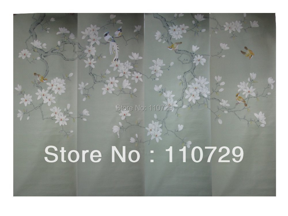 Hand painted silk wallpaper painting Magnolia w/birds hand-painted wallcovering TV/Bedroom/living room/dinning/Sofa wall paper