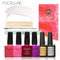 FOCALLURE 4 Colors Nail Gel Polish Top Base Coat Nail DIY Tools Pusher Remover Cleaner Set with SUNMINI Led Lamp