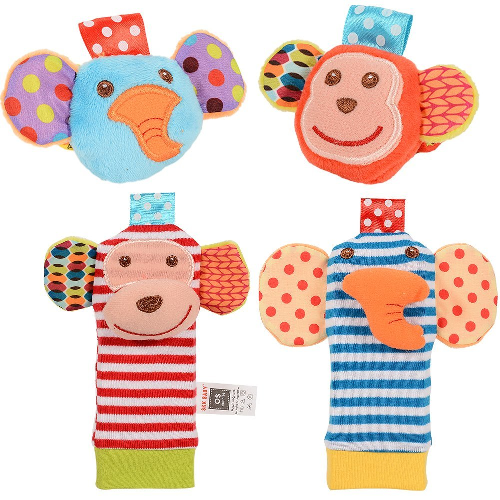 Baby Rattle 4PCS Baby Wrist Rattle And Foot Rattles Finder Socks Set Developmental Soft Animal Rattles Infant Baby Toys