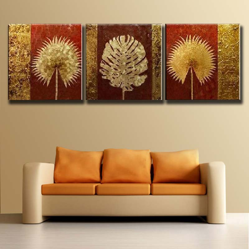 Free Shipping Hand Painted Modern Abstract Flower Gold