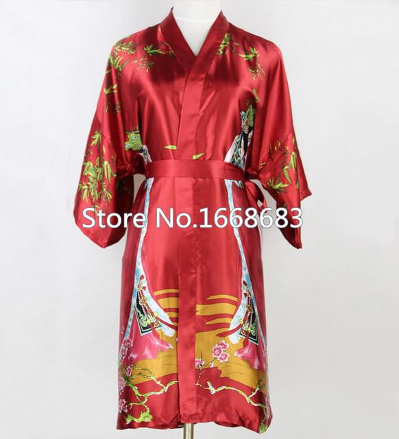 Nova marca borgonha mulheres Silk Robes Rayon do Vintage Kimono Yukata vestido de banho estilo chinês curto pijamas S M L XL XXL XXXL NR037