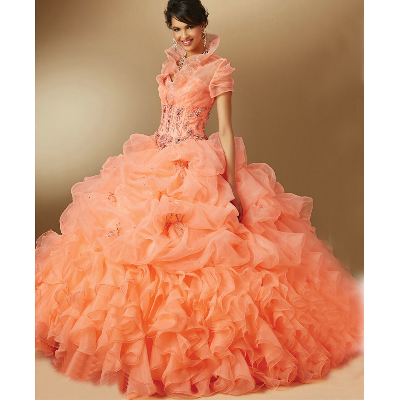 Sweetheart Orange Ball Gown Quinceanera Dresses With Jacket Floor ...