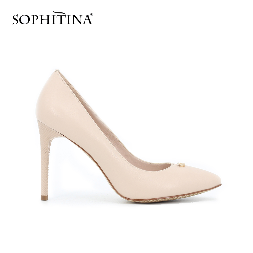 SOPHITINA Sexy Thin High Heels Ladies Pumps Pointed Toe Slip-on Spring Autumn Genuine Leather Wedding Party Women Shoes D53 women studded high heels pointed toe sexy pumps new 2017 ladies slip on thin heel shoes riveted free shipping