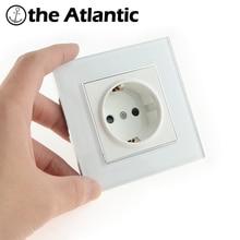 Atlantic EU/DE/RU Socket Crystal Glass Switch Wall Plug Socket Tempered Crystal Glass Panel 110-250V 50/60Hz Wall Power Socket