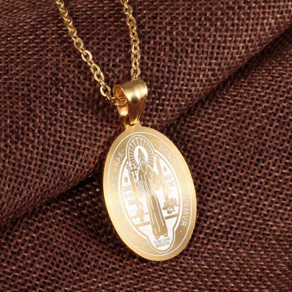 Fate Love Catholic Saints Saint Benedict Pendant Gold Color Stainless Steel  Religious Catholic Pendant Necklace Jewelry FL1067