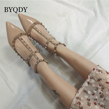 BYQDY Women Low Heels Cut Out Sandals Rivets Ankle T-tied strap Oxford Studded Moccasins Ballerinas Casual Shoes Dropship недорого