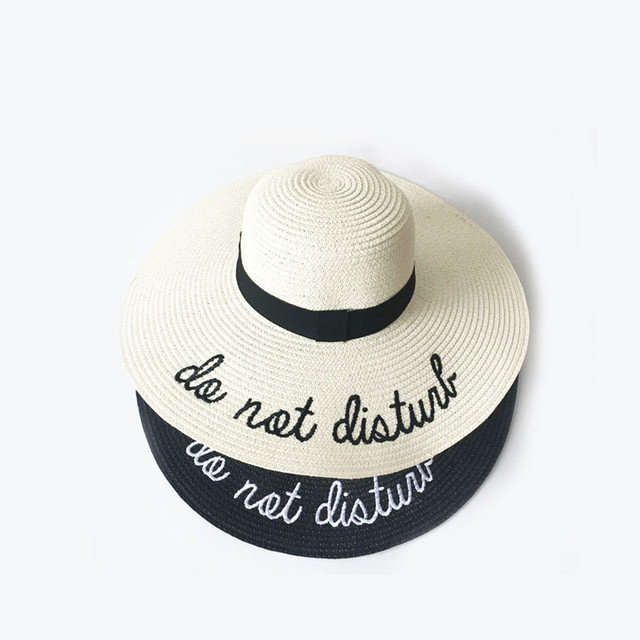 2018 Letter Embroidery Cap Big Brim Ladies Summer Straw Hat Youth Hats For Women Shade sun hats Beach hat Free Delivery