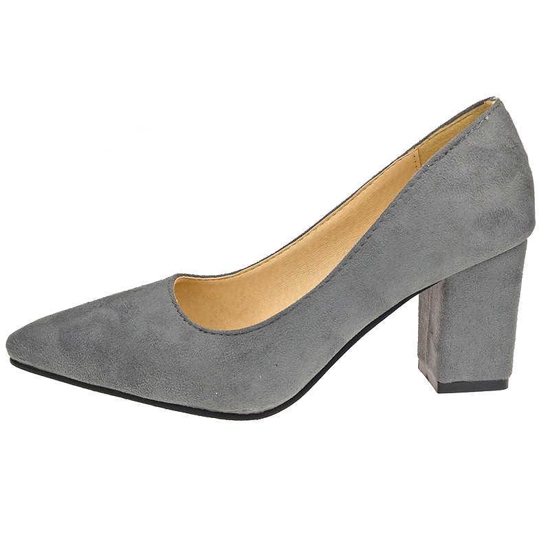 Aphixta Ayakkabı Kare Topuk Kadın Sivri Burun Pompaları Moda Gri Yüksek Kare Topuklu Akın Deri Siyah parti ayakkabıları Artı Büyük boy