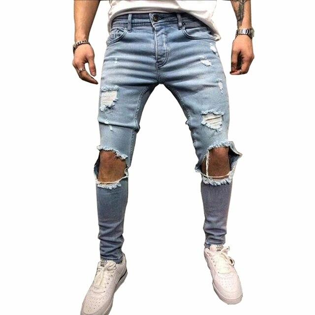אופנה Streetwear גברים של ג 'ינס בציר כחול אפור צבע סקיני נהרס Ripped ג' ינס שבורה פאנק מכנסיים Homme היפ הופ ג 'ינס גברים