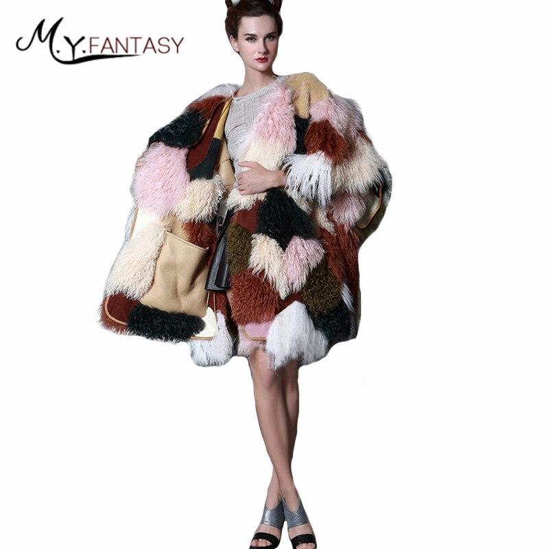 D'hiver Mongolie Manteaux cou Moutons Fourrure Couleur O M Agneau 2019 Manches Réel Longs Multi Femmes Laine Manteau De Y Contraste Sans Fansty 8gwpq7Izw