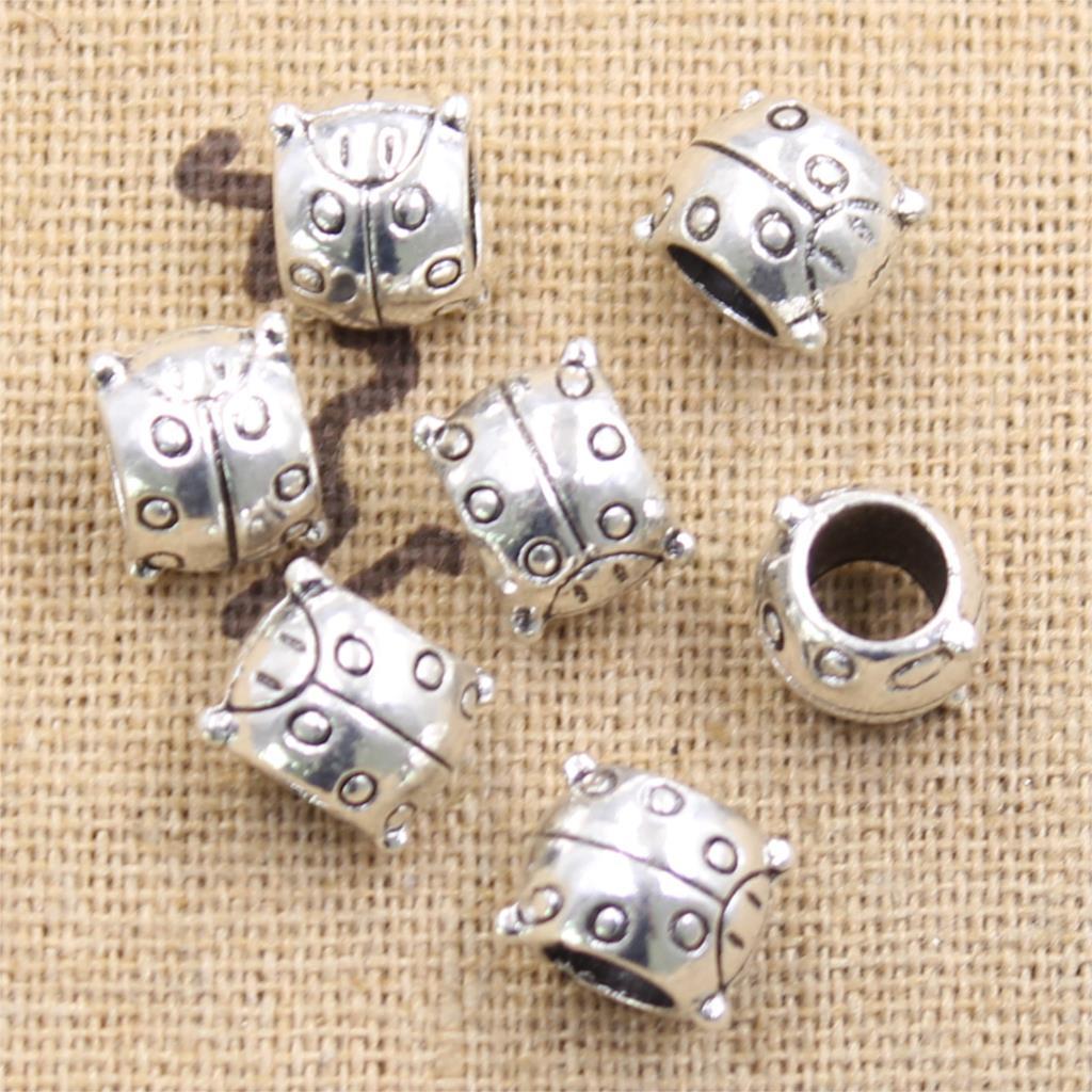 Free 10Pcs Tibetan Silver Charms Big Hole European MOM Spacer Beads 10x11mm