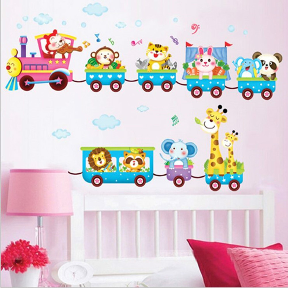 online get cheap art picture wallpaper aliexpress com alibaba group wall sticker wallpaper 3children s animal train printing decal decor diy adhesive art mural picture poster bedroom