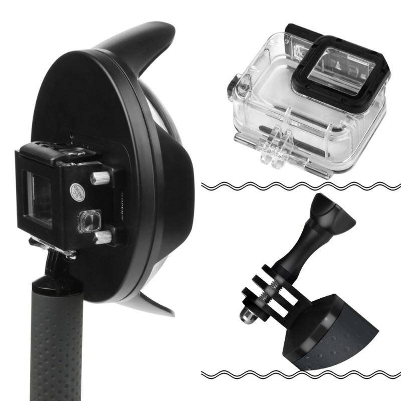 Dôme de 6 pouces pour Gopro Hero 7 6 5 caméra d'action noire avec boîtier étanche Go Pro 7 6 5 lentille dôme Port pour Go Pro accessoire