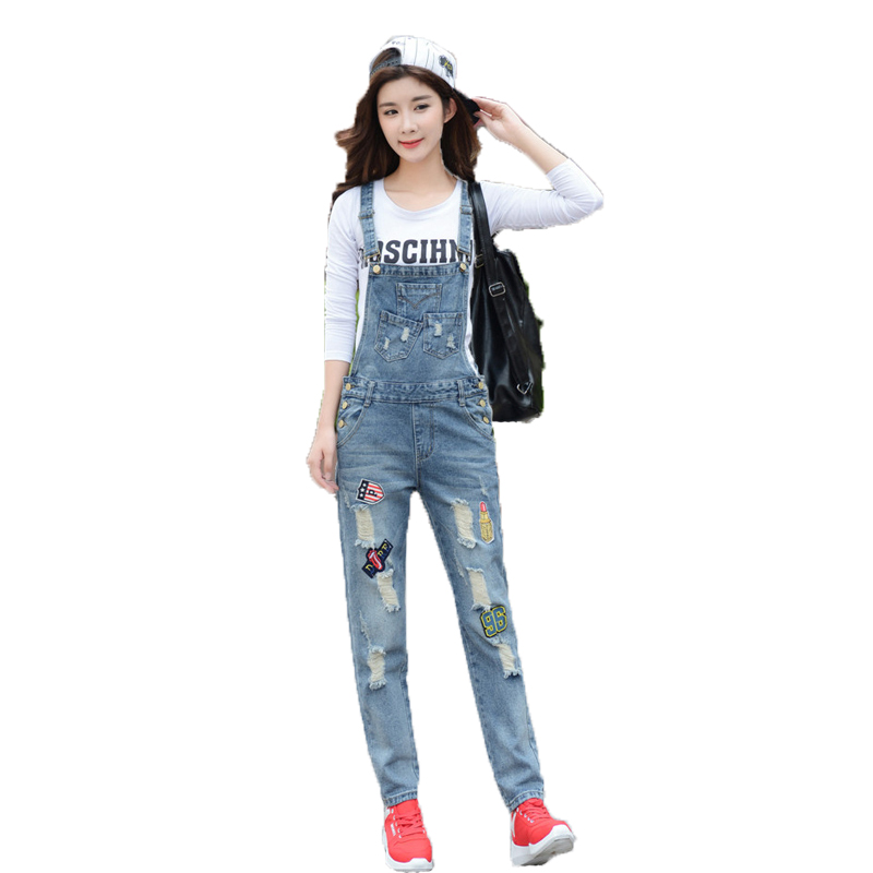 WomensDate 2017 New Arrival Spring Autumn Women Loose Was Thin Appliques Hole Denim Overalls Bib Pants Female Pants Jeans  2016 hot sale denim overalls women new arrival autumn winter denim bib pants female jeans rompers harajuku woman jeans lx6107