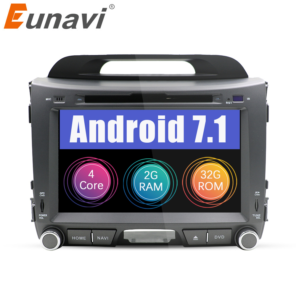 Eunavi 2 din Android 7 1 car dvd for KIA sportage 2011 2012 2013 2014 2015