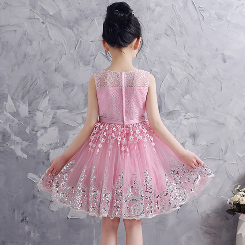 2018 Children Clothing Clothes Little Girls Wedding Party Dress Sleeveless Princess Baby Girl Lace Dress Back to School Outfits ems dhl free shipping toddler little girl s 2017 princess ruffles layers sleeveless lace dress summer style suspender