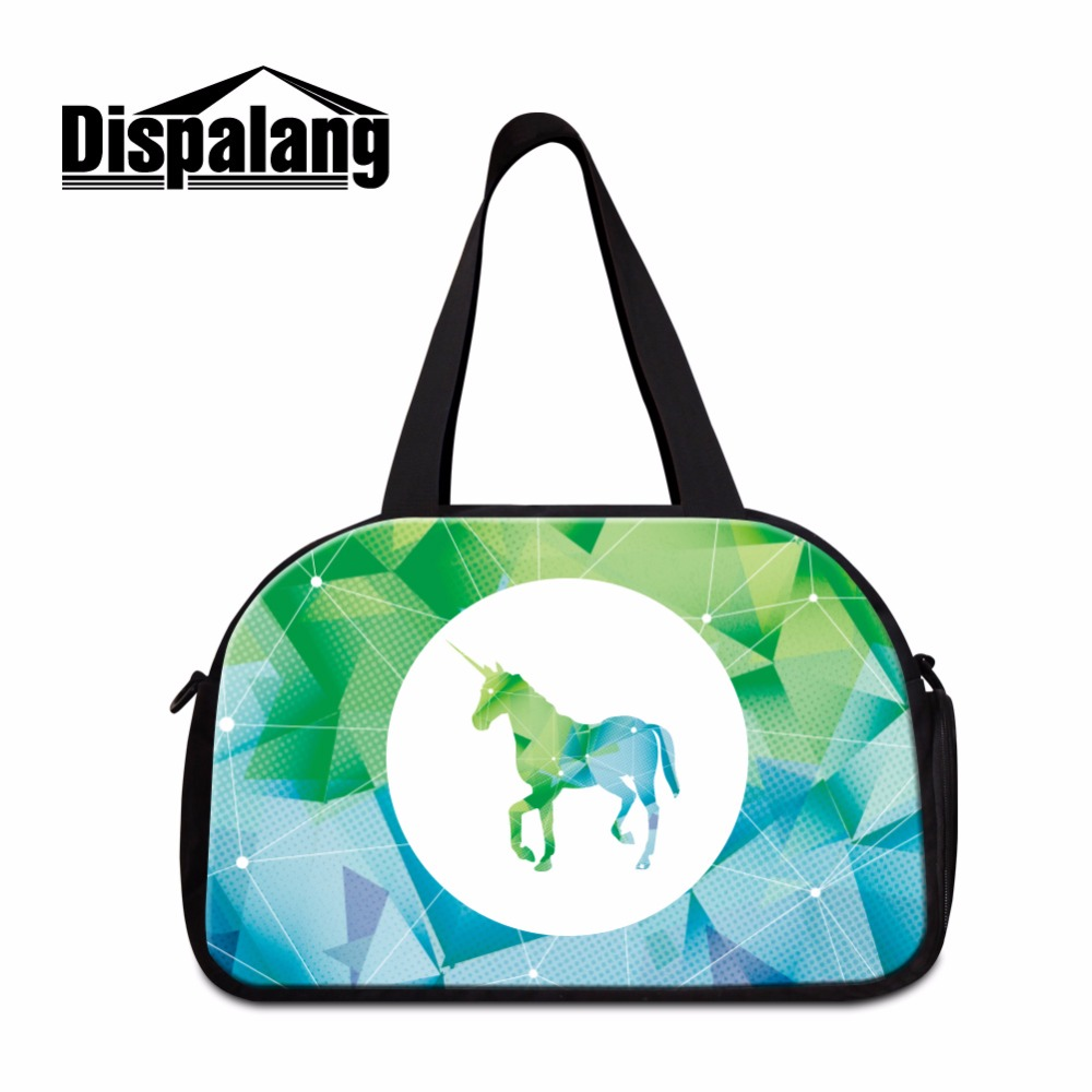 Dispalang Hot Sale Unicorn Travel Bag Canvas Weekend Bags Luggage Packing Organizers With Shoe Bag Women Large Capacity Tote Bag Shoe Bags