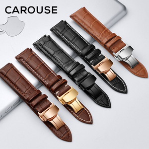 Image 3 - Carouse Calf Leather Watch Band Strap 12 13 14 15 16 17 18 19 20 21 22 23 24mm Stainless Steel Metal Watchband Combined sales
