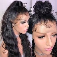 Прозрачный полный парик шнурка с волосами младенца волнистые бесклеевые бразильские парики человеческих волос для женщин черные предвари