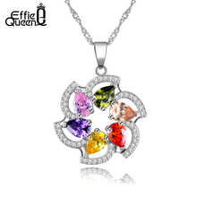 Effie Queen Shining Colorful Big Austrian Zircon Flower Necklace High Quality  Sweet style Women Necklace DDN05