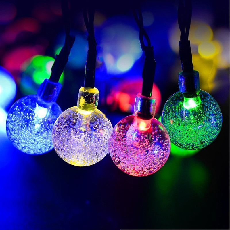 все цены на Waterproof Garland Led Christmas String Light 6m 30LEDs Crystal Ball Solar Powered Led Fairy Lights String for Outdoor Lighting онлайн