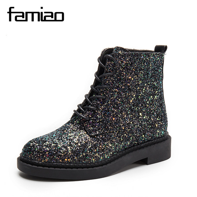 FAMIAO  Lace-Up Ankle Boots Woman Platform Autumn Shoes Woman Glitter Casual Nubuck Leather Slip On Flats Women Boots XWX4718