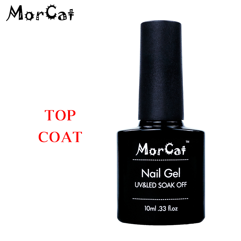MorCat 10ml Transparent Top Coat Gel Lacquer Nail Gel Polish Soak Off Primer Gel Nail Art Varnish Top Base Coat Semi Permanent in Nail Gel from Beauty Health