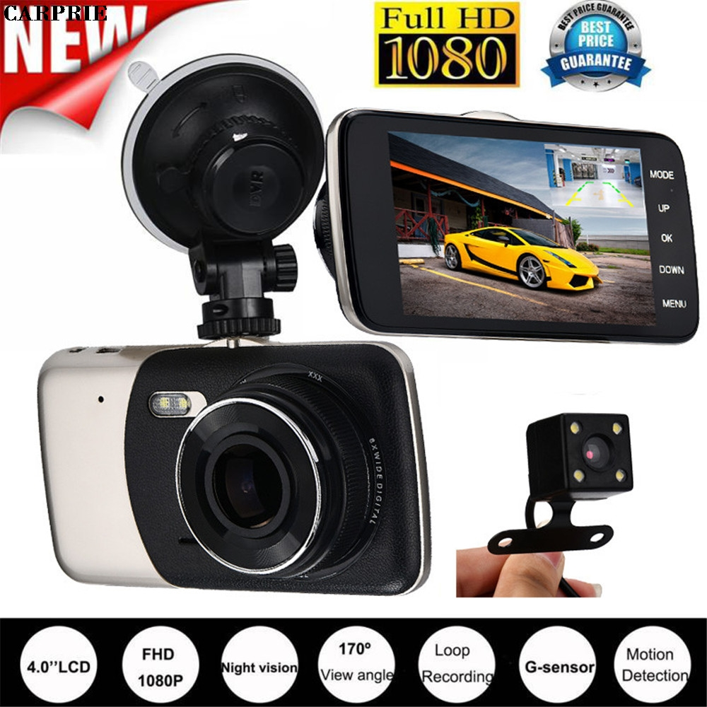 купить CARPRIE 4'' IPS HD 1080P Car Dual Lens Camera DVR Video Recorder Rear Dash Cam G-sensor Night Vision ar detector Night Vision онлайн