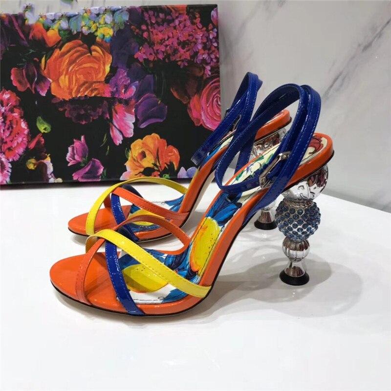 2019 새로운 라인 석 볼 발 뒤꿈치 발목 랩 샌들 여성 혼합 색상 들여다 발가락 숙녀 여름 샌들 파티 신발 여성 mujer-에서하이힐부터 신발 의  그룹 2