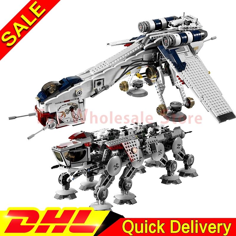 LEPIN 05053 Star battle 1788pcs Republic Dropship with AT-OT Walker Model Building blocks Bricks lepins Toy Gift Clone 10195 w 29 at at walker style wall sticker
