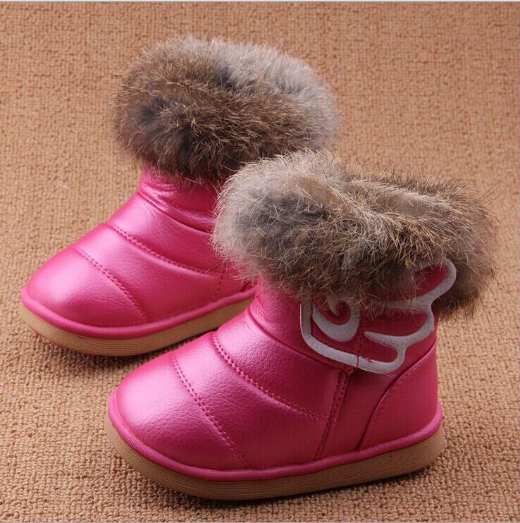 New-Winter-fashion-snow-boot-Warm-Rabbit-hair-PU-Leather-First-Walkers-shoes-wings-infant-Toddler-Baby-Girls-hard-sole-13-18CM-3
