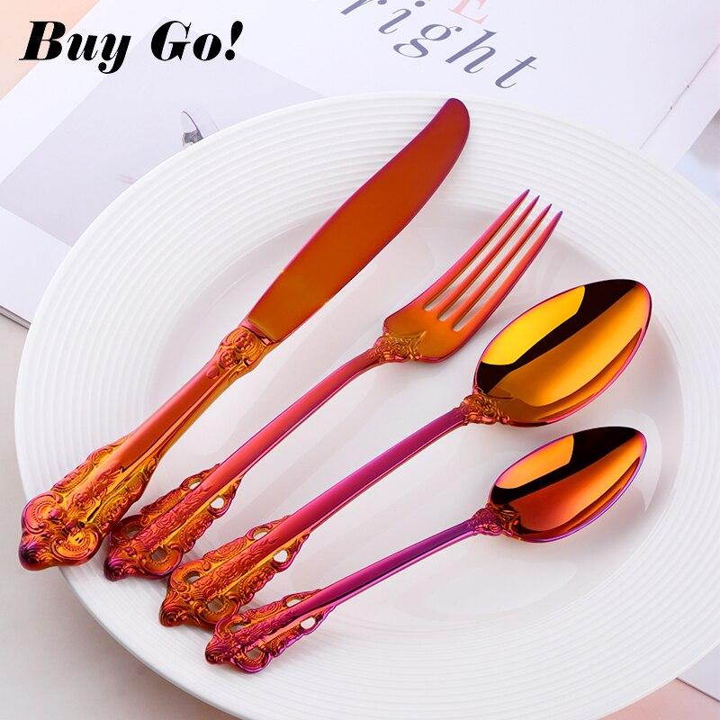 Créatif magique rouge Vintage Western couverts en acier inoxydable à manger couteaux fourchettes cuillères à café ensemble vaisselle gravure vaisselle ensemble