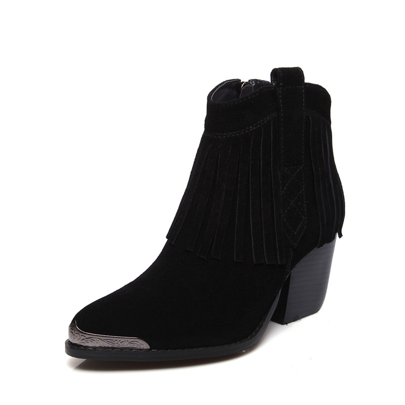 Bout Nouvelle Talons Smirnova Mode 2018 Daim brown Noir Cheville Femmes Rond Pour Épais Chaussures De Bottes Haute En Cuir Fringe Arrivée Dames tCshQrd