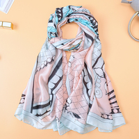 2018 Design Beads Scarves Women's Print Silk Scarf For Lady Plaid Blue And Pink Beach Shawls Wrap