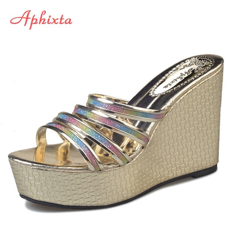 Aphixta туфли на танкетке Для женщин Bling Mix Цвет на платформе шлепанцы на очень высоком каблуке тапочки вечерние Обувь для отдыха Гладиатор ...