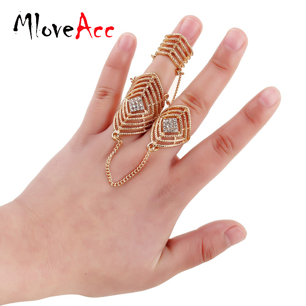 hot selling two finger ring set online shopping indian bijoux rhinestone gold plated personality jewelry chain - Where To Sell Wedding Ring