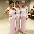 Vestido Dama De Honra Lace Appliques Muslim Bridesmaid Dress Pearl Beaded Sash Sheath Arabic Pink Long Sleeve Bridesmaid Dresses