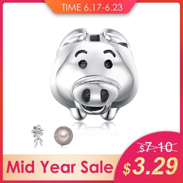 JewelryPalace 925 Sterling Silver Adorável Porco Animal Cabeça de Charme Beads Fit Pulseiras Nova Venda Quente Para As Mulheres Da Moda Jóias DIY